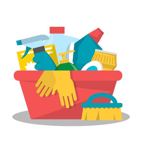 Collection of domestic chemical equipment in plastic bottle. Product for housework in container, vector illustration. Detergent and disinfectant. Antiseptic spray in flask. Ilustracja