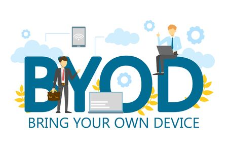 BYOD bring your own device single word banner vector isolated. Gadget, wireless technology. Business strategy, mobility at work. Access to personal computer and smartphone.