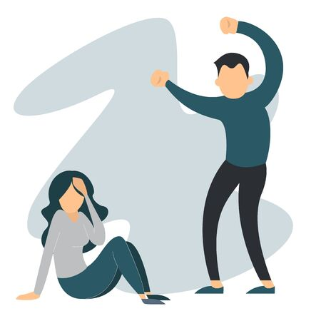 Man abuse woman. Domestic violence, crying female victim. Wife in fear, husband in anger vector isolated. Guy beating girlfriend.