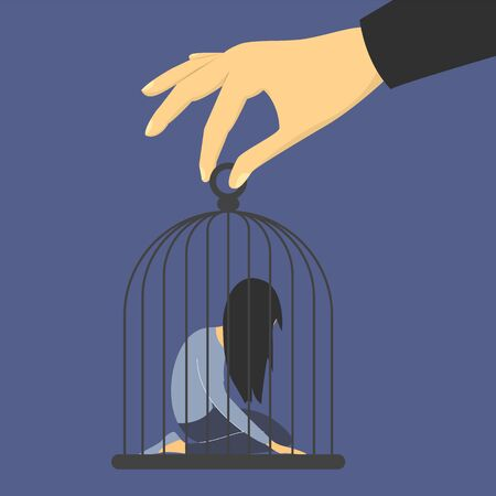Sad woman in the cage. Man abuse woman, giant hand holding cage vector isolated. Girl in depression on knees, jail and prison. Illustration