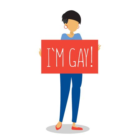 Female person coming out vector isolated. Homosexual adult holding banner I am gay. Freedom of love and orientation. Pride month.