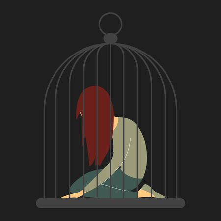 Traurige Frau im Käfig. Mann missbraucht Frau, riesigen Käfig, Person im Vektor isoliert. Mädchen in Depressionen auf Knien, Gefängnis und Gefängnis.