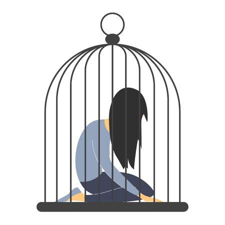 Sad woman in the cage. Man abuse woman, giant cage, person inside vector isolated. Girl in depression on knees, jail and prison.