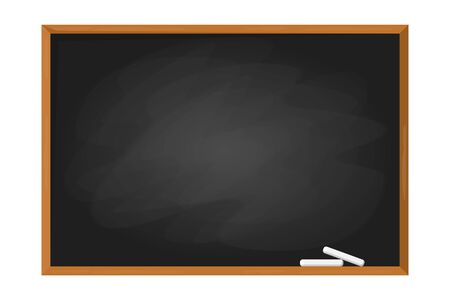 Black school chalkboard in the frame vector isolated. Blank clasroom blackboard. Empty surface for your message. Education object. Template design. Illusztráció