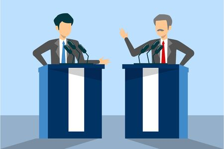Candidate for president on debate vector isolated. Male speaker at the microphone behind tribune. Politician speak. Stock Illustratie