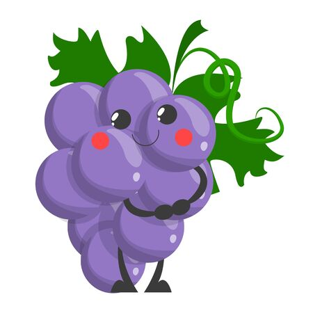 Wektor zabawny ładny charakter winogron na białym tle, świeże owoce z twarzą. Fioletowa roślina, soczyste odżywianie.