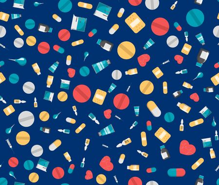 Medicine seamless pattern vector isolated. Pharmacy pill and heart. Medical plaster. Care for health.
