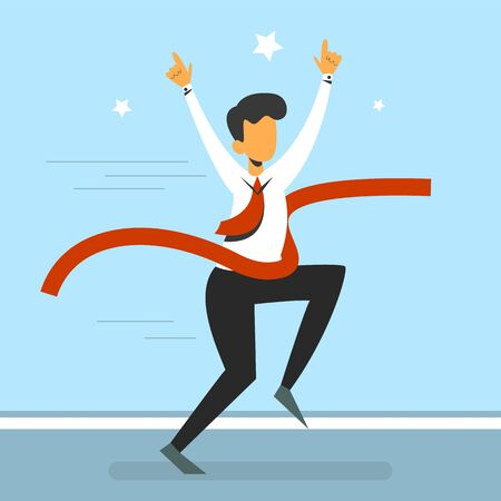 Happy leader running first to finish and raise up hands vector isolated. Red ribbon, fast champion. Businessman on challenge, executive winner. Ilustração