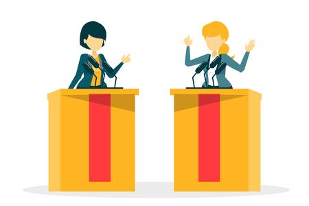 Candidate for president on debate vector isolated. Female speaker at the microphone behind tribune. Politician speak.  イラスト・ベクター素材