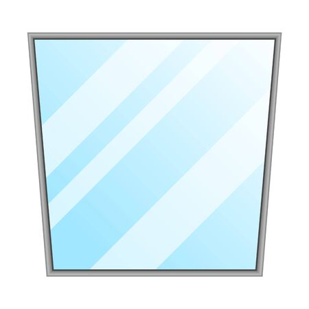 Mirror isolated. Interior decoration in frame, square shape. Furniture vector element. Blank space for reflection. Illustration