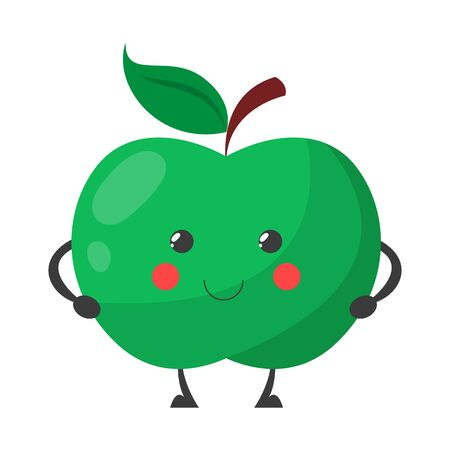 Green apple smiling character vector isolated. Cute food with a face. Cheerful happy fruit. Vitamin full fresh apple.