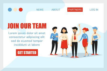 Únase a nuestro equipo, estamos contratando banner para la plantilla del sitio web. Equipo de negocios bienvenido nuevo vector trabajador aislado. Persona divertida con mensaje. Ilustración de vector