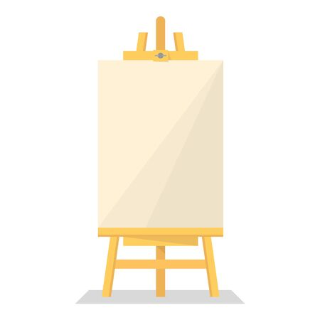 Wooden easel vector isolated. Blank paper board. Empty poster for the announcement. Creative display. Ilustração