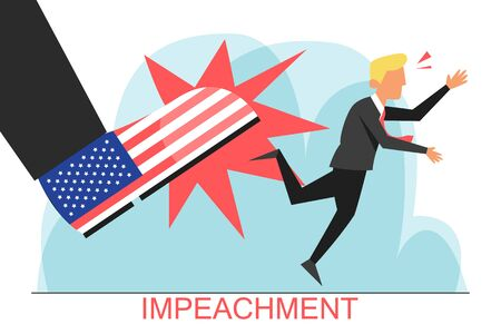 Impeachment of the president vector isolated. Procedure in the USA. Political justice, giant american boot kick out person. President removal, accusation in crime.
