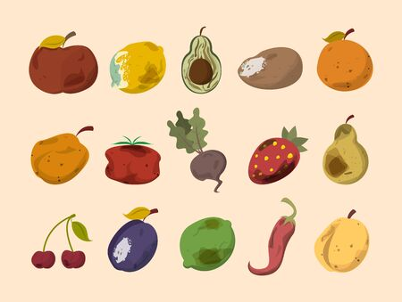 Rotten vegetable and fruit vector isolated. Food waste collection. Dirty, bad and unhealthy fruits. Food trash. Vektorové ilustrace