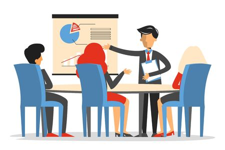 Business meeting in conference room vector isolated. Man make presentation in office, business project. Group of people training. Colleagues meeting.