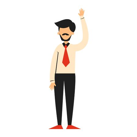 Businessman standing and waving vector isolated. Corporate business worker. Professional manager, office person.