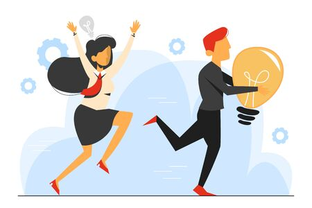Plagiarism, man steal idea and run away vector isolated. Businesswoman run for the criminal in black with light bulb.