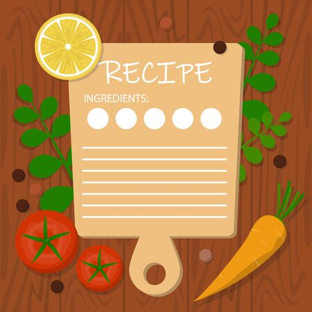 Recipe banner template. Blank space for the text, cooking idea. Kitchen utnesil and food around. Creative design.