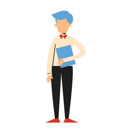 Businessman standing and holding document vector isolated. Corporate business worker. Professional manager, office person.
