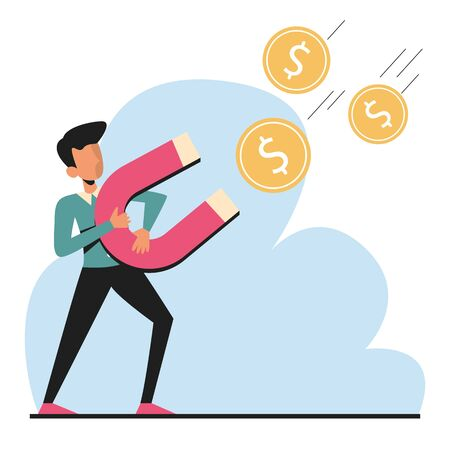 Man attracting money with magnet vector isolated. Business character and financial strategy. Dollar coin income. Success and achievement. 일러스트
