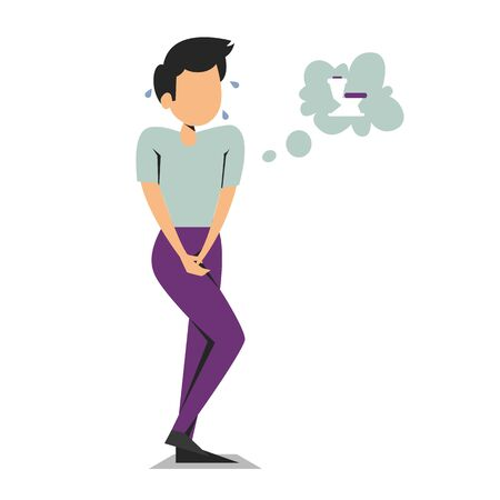 Man standing and want to pee vector isolated. Person with a full bladder need a toilet, desperation and stress. Illustration