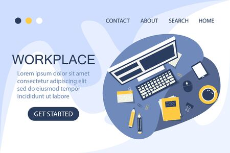 Workplace web banner. Office workspace and business equipment. Desktop space. Modern design.
