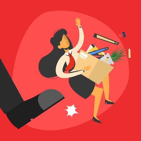 Le patron a expulsé l'illustration de l'employé du travail. Caractère de femme d'affaires congédié. Femme sans emploi. Grosse jambe et personne volent. Vecteurs