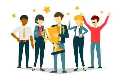 Business team vector isolated. Group of people, office employee. Professional worker. Manager holding trophy cup, success of teamwork.