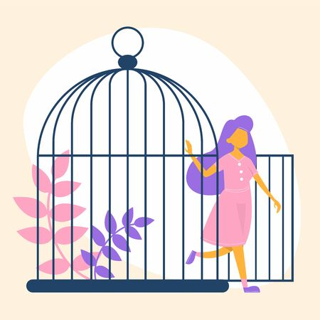 Happy woman leave the cage. Metaphor of freedom and escape from abuse. Happy person walk out of the birdcage. Illustration