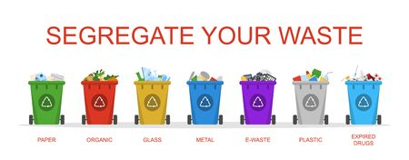 Segregate your waste vector isolated. Container in a row for metal, organic and paper garbage. Ecology friendly separation of trash.
