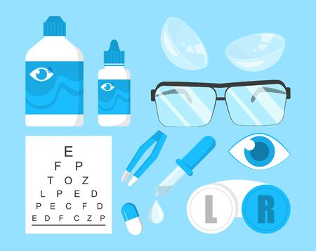 Ophthalmology collection vector isolated. Eye correction equipment. Contact lens, glasses and other device. Vision care.