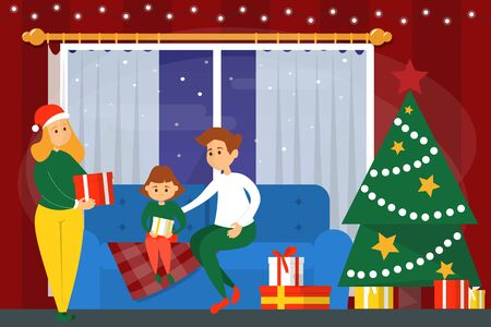 Family in the living room. Christmas decoration, tree and gifts. Mother, father and daughter on winter holiday. Banque d'images - 133164230