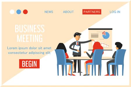Business meeting in conference room vector isolated web banner design. Man make presentation in office, business project. Group of people training. Colleagues meeting.