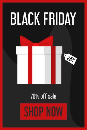 Black friday sale mobile web banner. Special offer, big discount in the shop. Gift box and label with super price on it.