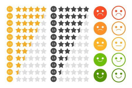 Star rating set vector isolated. Golden and black star shape. Quality of service measurement. Ranking system, review symbol. Classification and statistics. Rate button symbol. Evaluation using emoji.