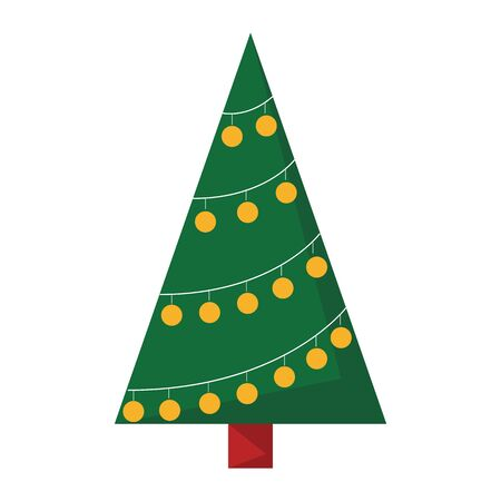 Green christmas tree vector isolated. Green fur with decoration and star, new year celebration. Symbol of winter holiday.