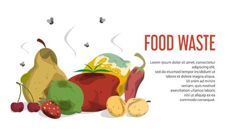 Food waste web banner vector isolated. Organic garbage, collection of rotten fruit and vegetable. Unhealthy trash and rubbish.