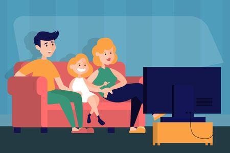 Mother, father and daughter watch TV at the home. Family on the sofa in living room. Home interior. Kid and parent lifestyle. Illusztráció