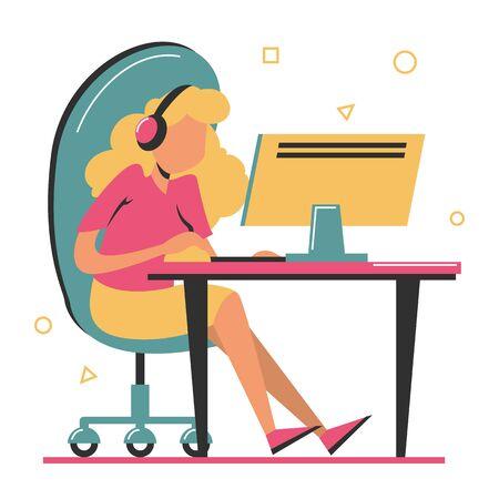 Femme jouer à un jeu informatique assis à la table vecteur isolé. Joueur PC avec casque. Jouez en utilisant la technologie moderne. Vecteurs