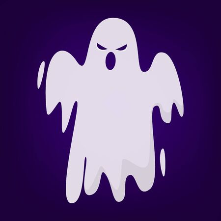 Halloween ghost vector isolated. Mystery and darkness. Spooky fantasy demon, horror and fear. Illusztráció
