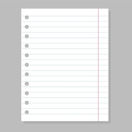 Blank paper sheet, empty space for message vector isolated. Line page from notebook. Office document, white material.