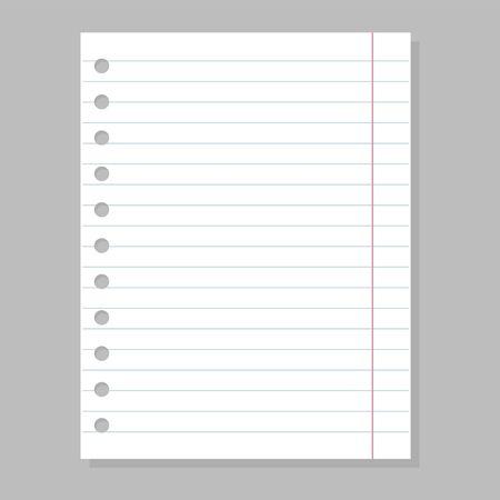 Hoja de papel en blanco, espacio vacío para vector de mensaje aislado. Página de línea del cuaderno. Documento de Office, material blanco.