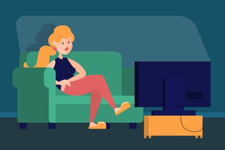 Woman watching TV show at home. Person sitting on the sofa at the television screen. Evening entertainment. Living room interior.