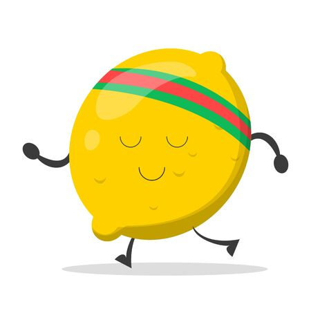Lemon character training vector isolated. Cartoon yellow fruit with face jogging. Health and diet. Athletic lemon doing sport exercise.