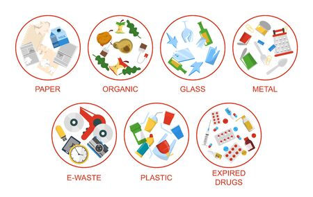 Segregate your waste vector isolated. Metal, organic and paper garbage. Ecology friendly separation of trash.