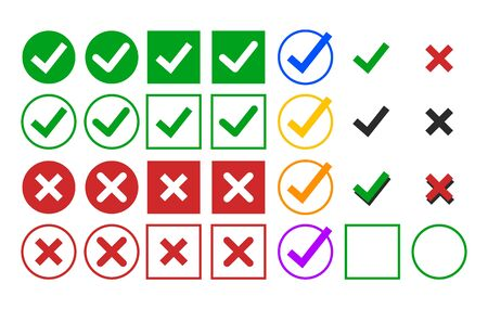 Set of check mark icons vector isolated. Green and red symbol. Ok sign and red cross. Correct and wrong sign. Yes and no. Çizim