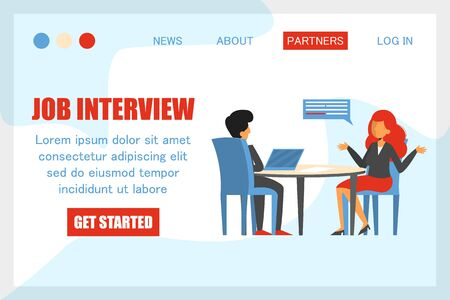 Woman on a job interview vector isolated. Design of the web banner, web page template. Business people, candidate for a job. HR at computer, office work. Recruitment manager. 일러스트