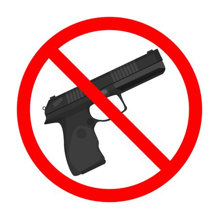 Gun forbidden sign vector isolated. Weapon is not allowed, symbol of crime restriction. Red circle and pistol behind.