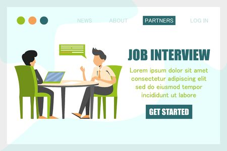 Man on a job interview vector isolated. Design of the web banner, web page template. Business people, candidate for a job. HR at computer, office work. Recruitment manager.
